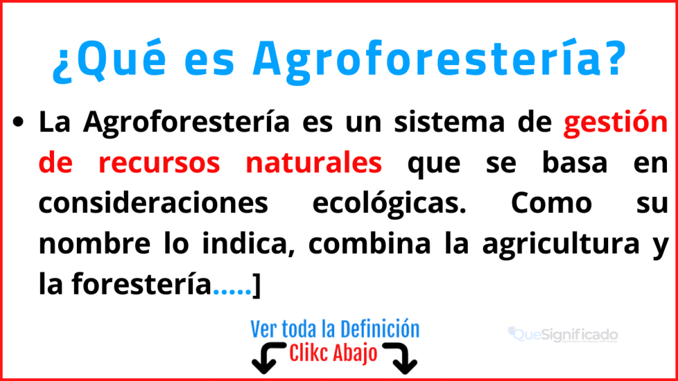 que es Agroforestería