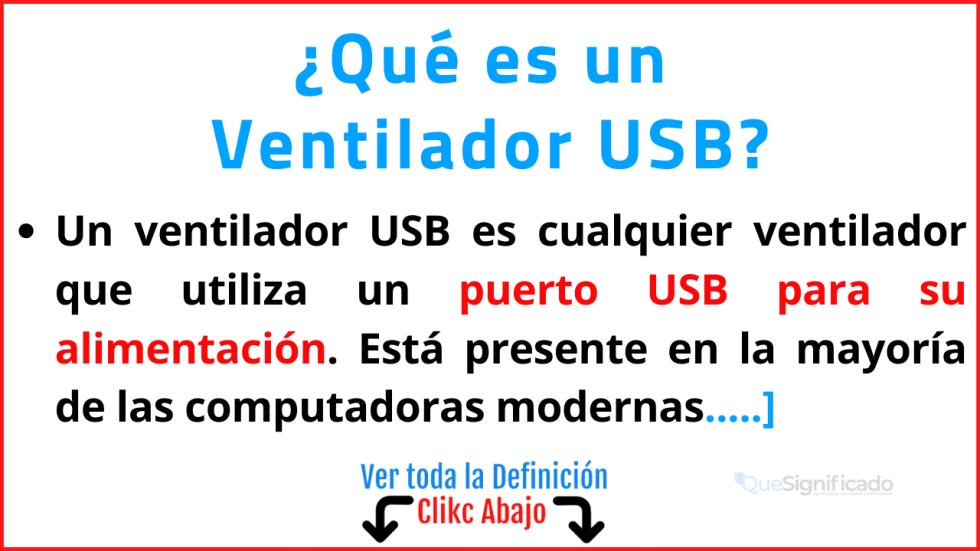 Qué es un  Ventilador USB