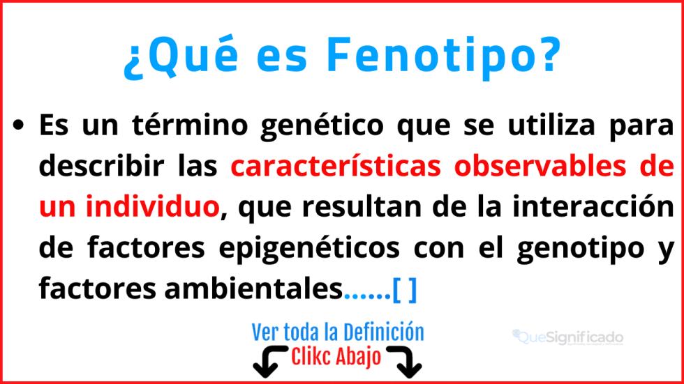 Qué es Fenotipo