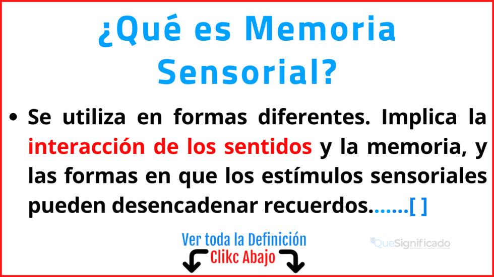 Qué es Memoria Sensorial