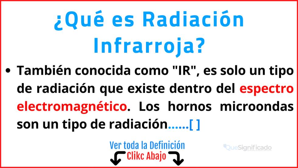 Qué es Radiación Infrarroja