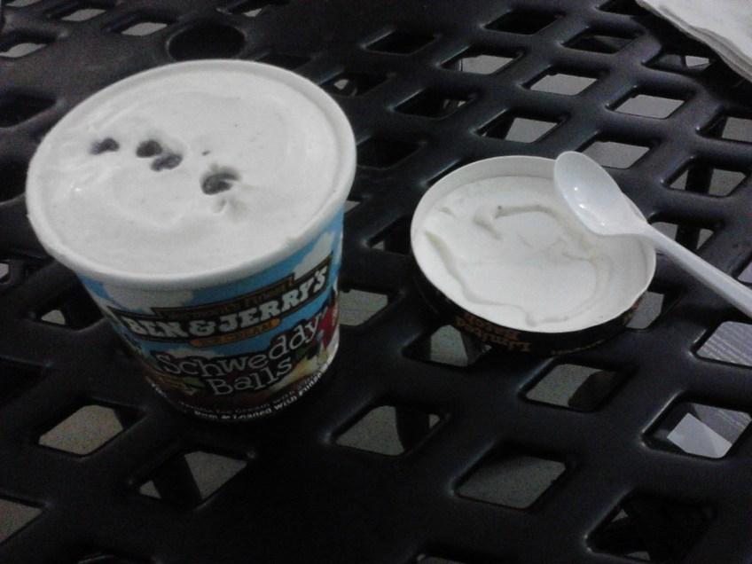 Opening the carton of Schweddy Balls ice cream.