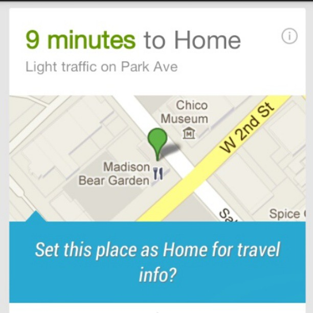 Google Now on my new smartphone initially thought I lived at the Madison Bear Garden.
