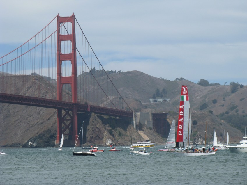 Luna Rossa Challenge heads close toward the bridge during the first race of the Louis Vuitton Cup Finals on Saturday, Aug. 17, 2013, in San Francisco.