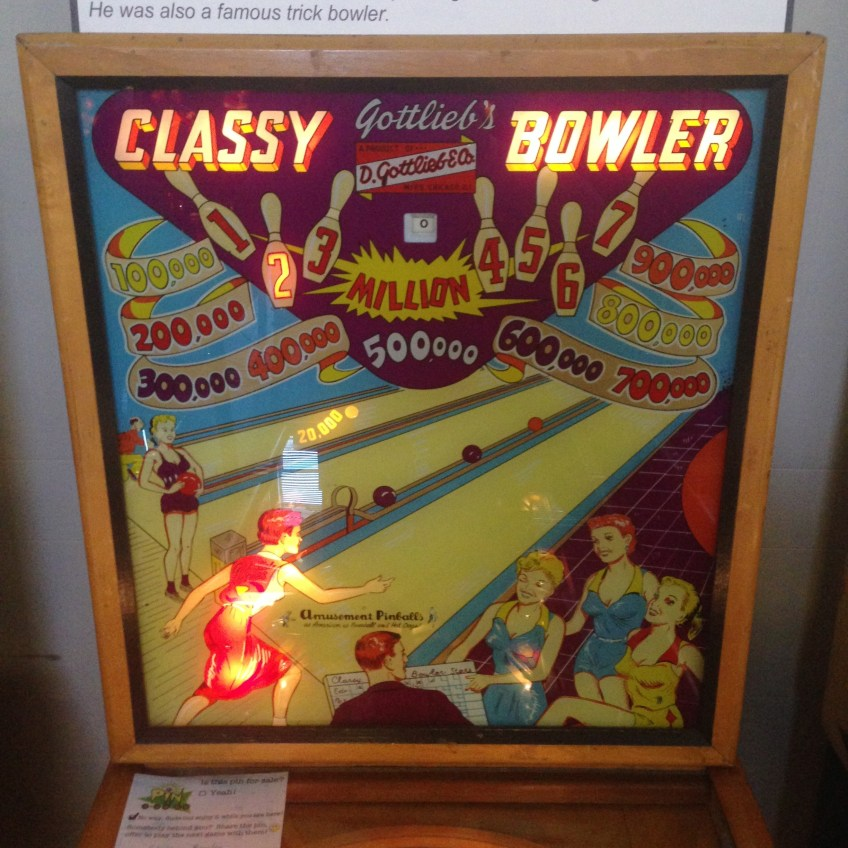 Backglass art for the Classy Bowler pinball game on display at the 2014 Pin-a-Go-Go show in Dixon,