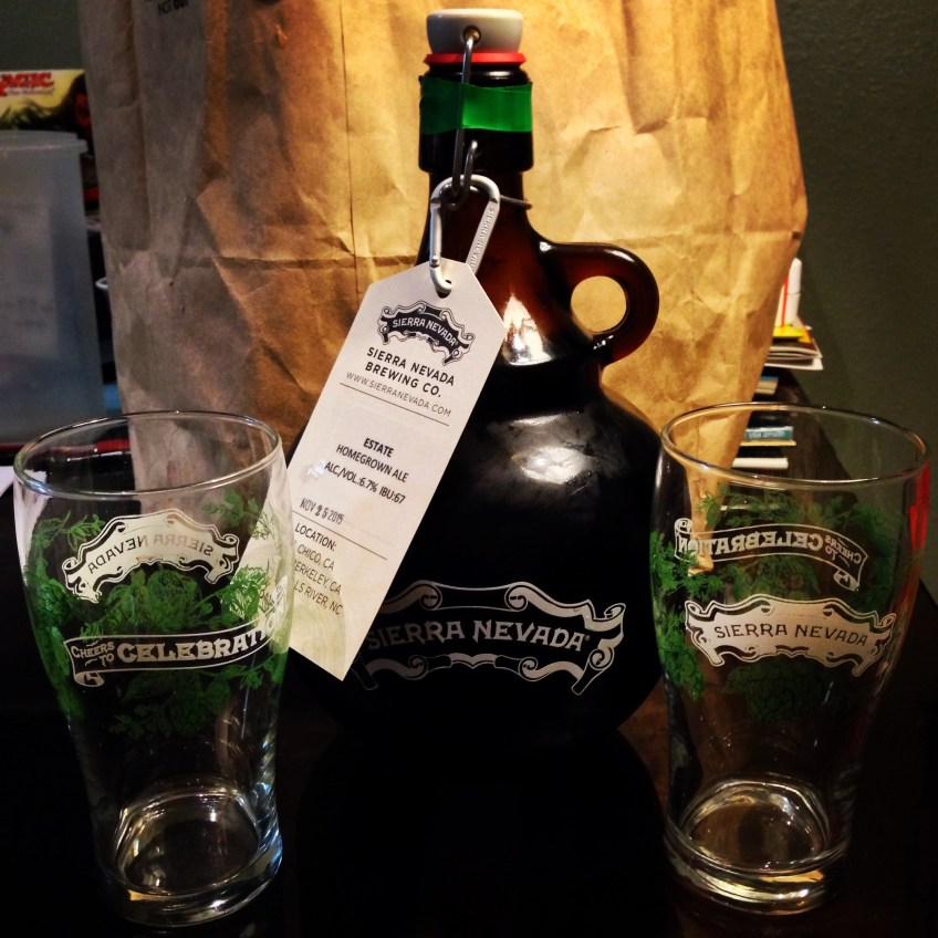 A half-gallon growler of Sierra Nevada Estate Homegrown Ale is pictured with two pint glasses in December 2015.