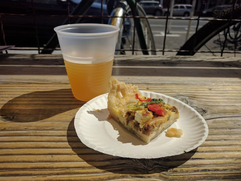 Lamb sausage pie with goat cheese from Copper Onion & hIPAcryte, an IPA, from 2Row Brewing