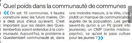 Mme Danilo parle de Questembert Communauté, de la communication insuffisante