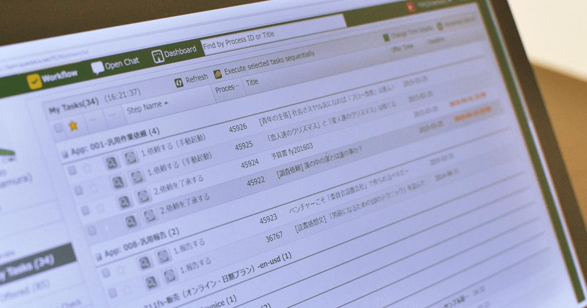 タスク処理画面