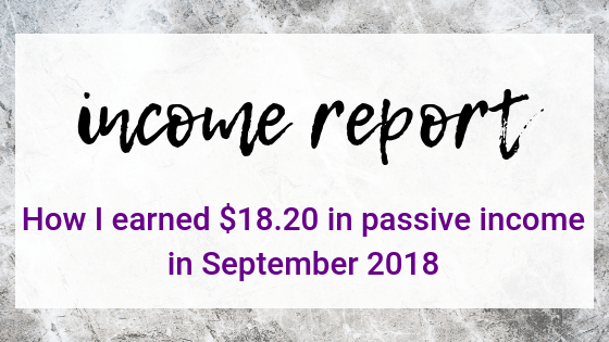 September 2018 Income Report