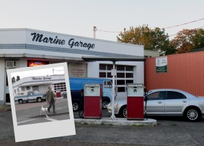 Marine Garage. There is Archie and Pongo crossing Moncton Street where the garage is located
