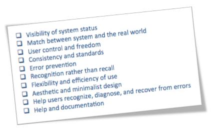 List of Nielsen's ten usability heuristics