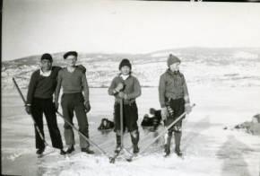 Playing hockey on Okanagan Lake in 1937