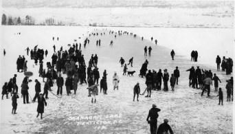 Skating on Okanagan Lake in 1936