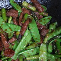 Venison Stir-fry with snow peas and Asparagus
