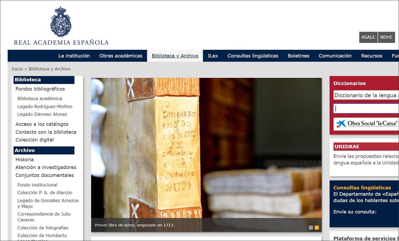 Сайт Королівської академії іспанської мови RAE