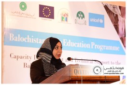 QUETTA-PAKISTAN, March 26, 2019: Trainer of the program Ms. Rabia Heerani addressing to closing ceremony of Capacity Development and Technical Support to Balochistan Assessment and Examination Commission. Organized by Agha Khan University Examination Board in collaboration with Government of Balochistan, UNICEF and European Union