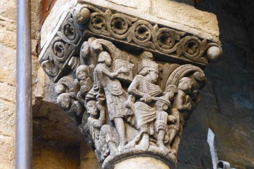 Capitel del rey David y los músicos en la Catedral de Jaca