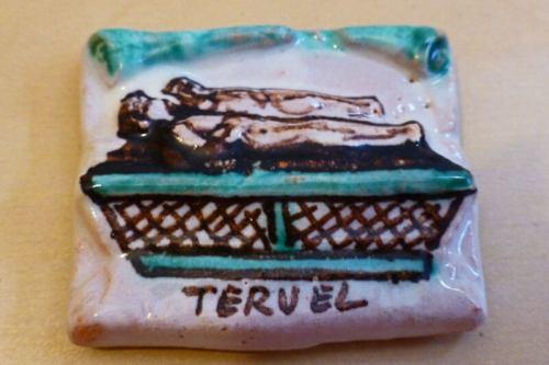 Imán de cerámica con la imagen de los Amantes de Teruel
