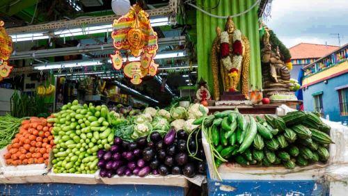 Puesto callejero de comida en Little India