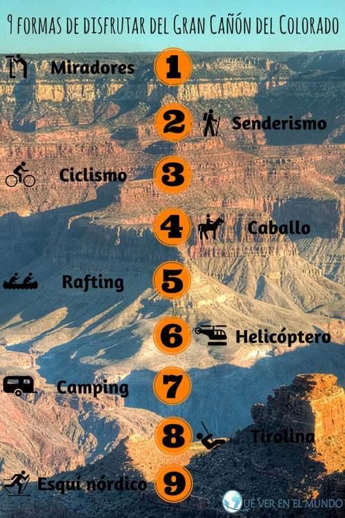 Infografía 9 formas de disfrutar del Gran Cañón del Colorado