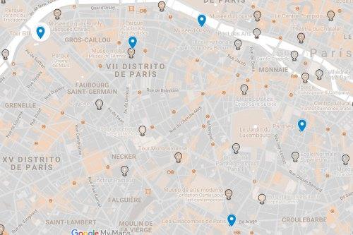 Mapa con los puntos de interés al sur del río Sena