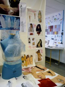 At right: made of plastic water bottles. At left: Fashion challenging the objectification of female sexuality