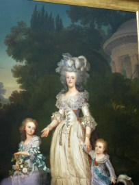 Marie Antoinette with her two children in her hamlet near the Temple of Love