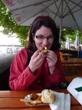 Eating currywurst
