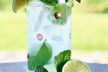 coconut mint mojito in a glass with lime