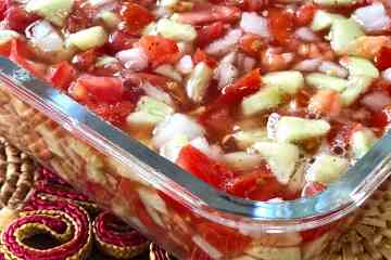 tomatoes, cucumbers and onions make Granny Mac's goulash