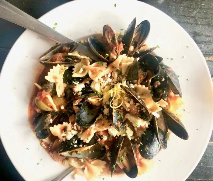 mussels on a white plate