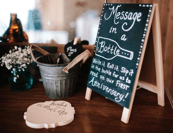 chalkboard message in a bottle sign