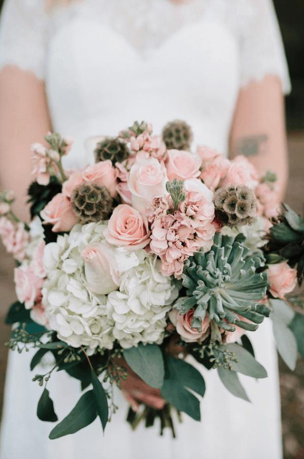 succulent bridal bouquet with blush tones