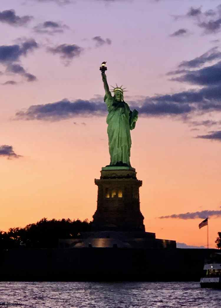 Statue of Liberty in the sunset, New York