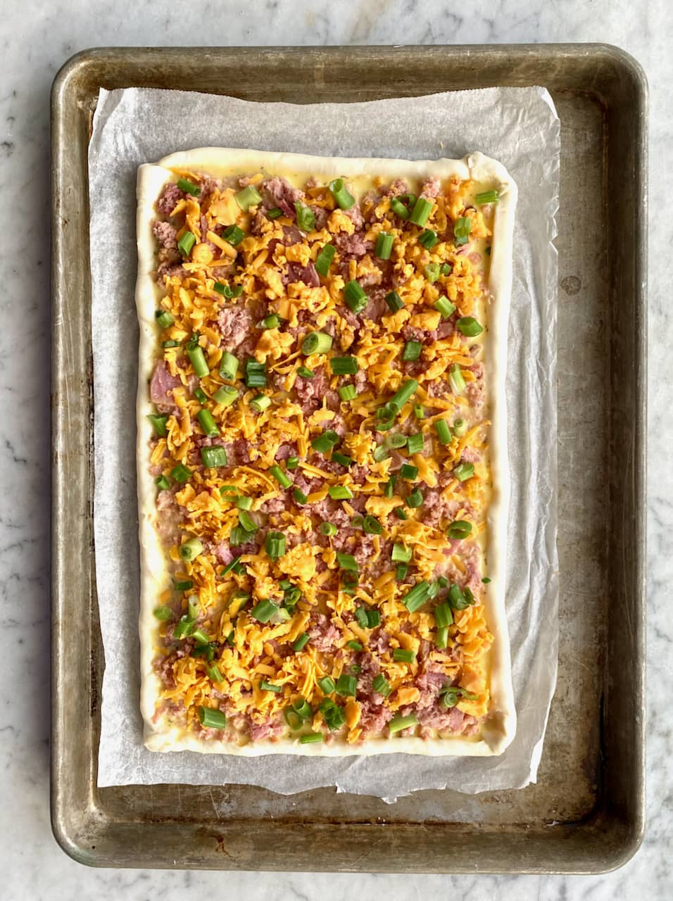 ham & egg brunch bake ready to go in oven