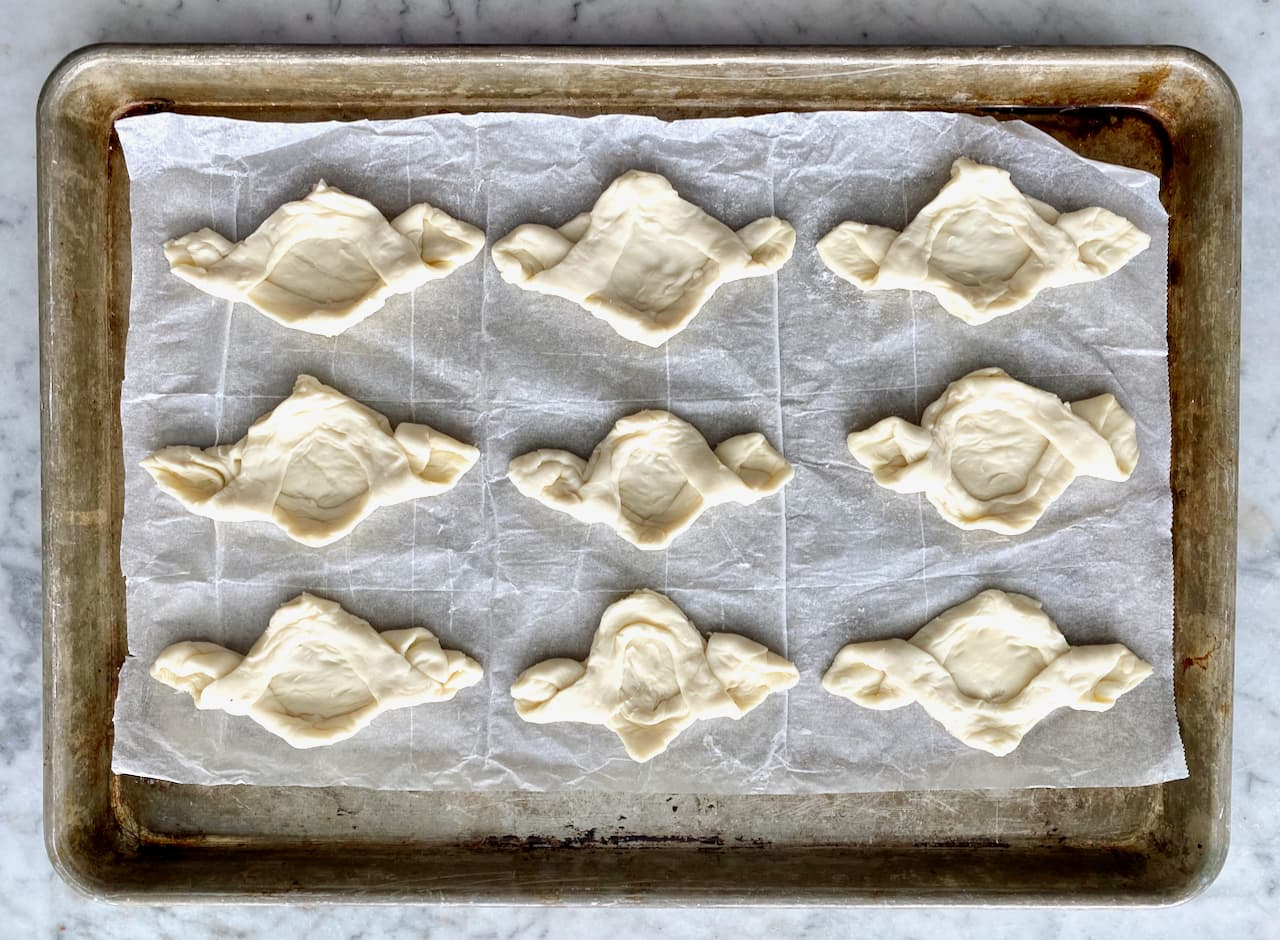 dough for Raspberry Mocha Twists on a sheet pan