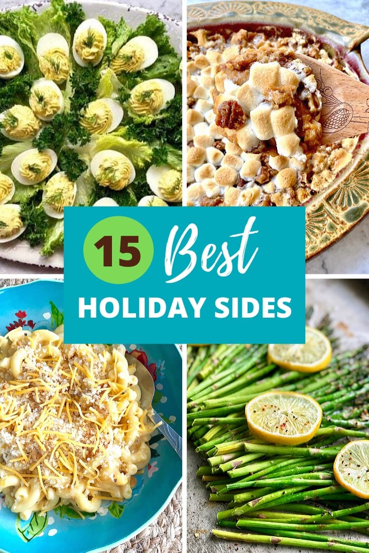 collage of best holiday sides including eggs, casseroles, mac and cheese, asparagus
