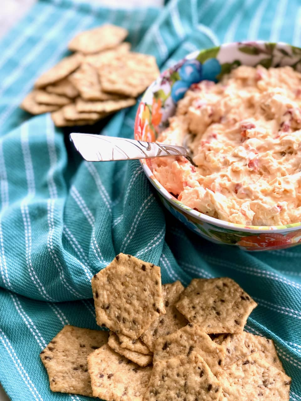 Smoked Pimento Jack Cheese in a floral bowl