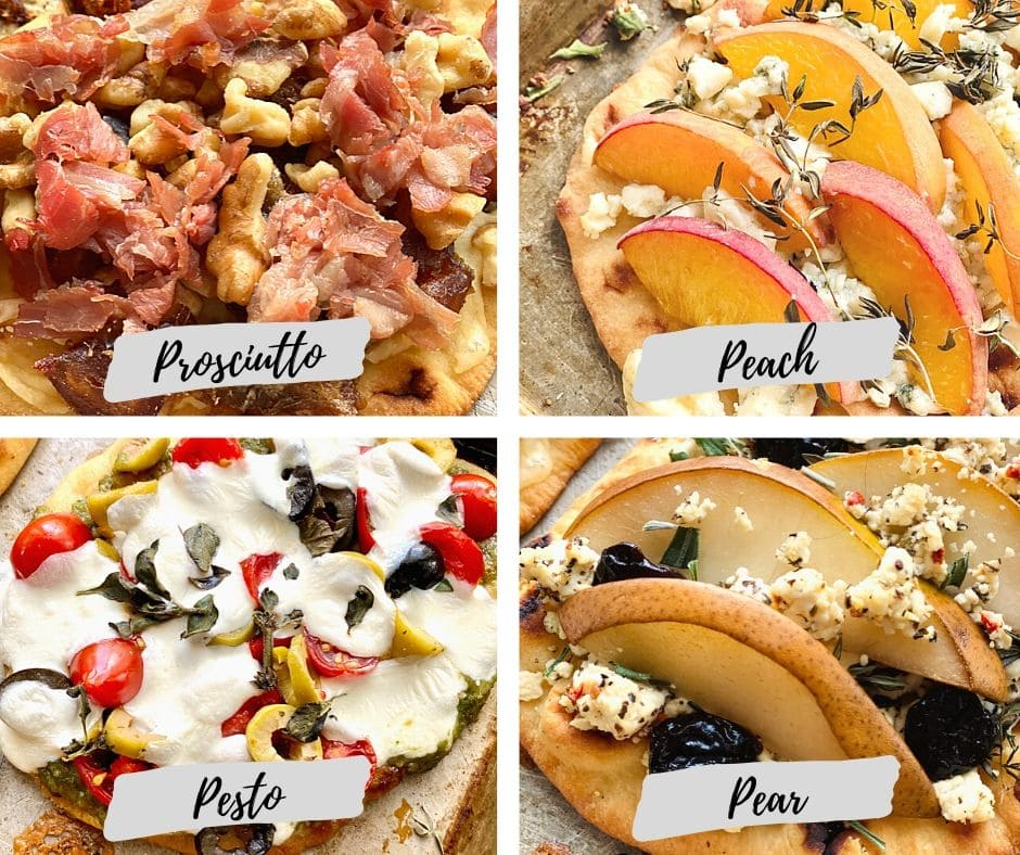 graphic labeling prosciutto, peach, pesto, and pear flatbreads