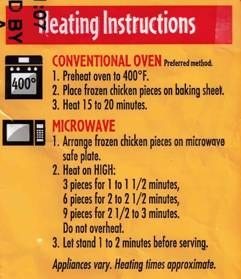 Tyson Anytizers Popcorn Chicken cooking instructions