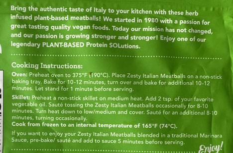 Sol Cuisine Meatless Meatballs cooking instructions