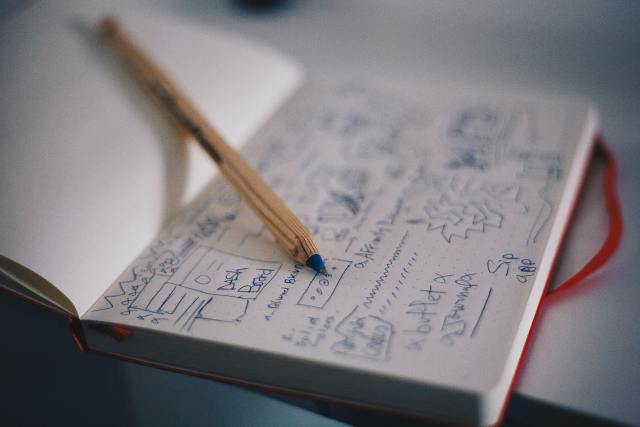 A notebook filled with sketches.