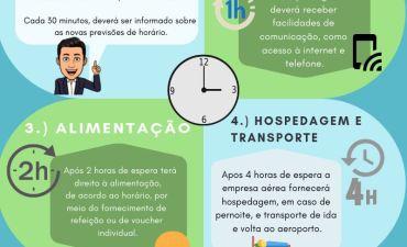 Direitos do consumidor em casos de atraso de voo (infográfico)