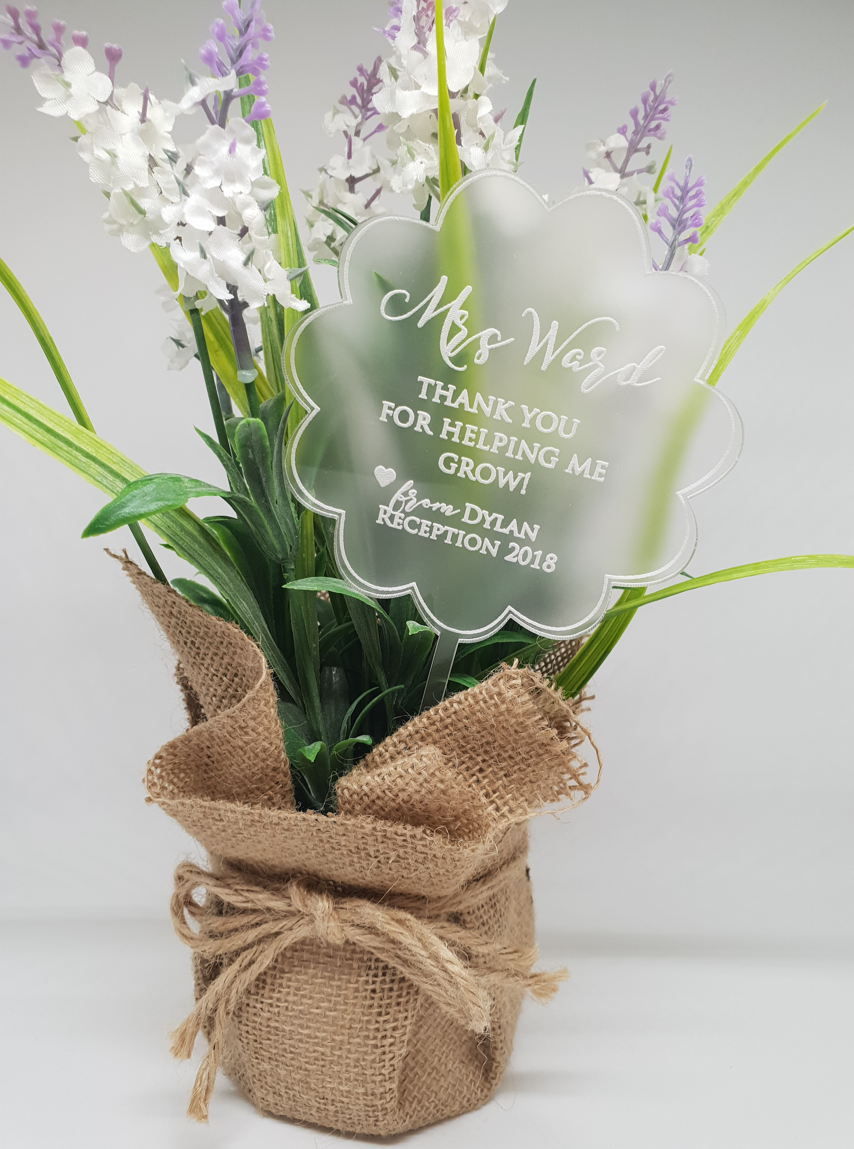 Frosted Clear Acrylic Flower Teacher Gift