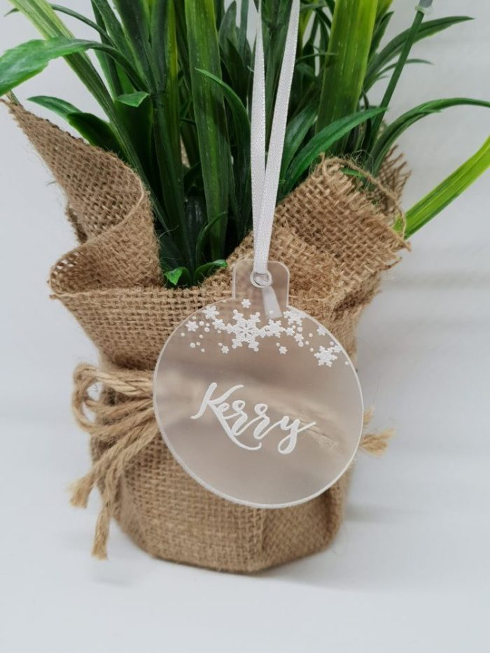Frosted Clear Bauble with Name & Snowflakes on Top
