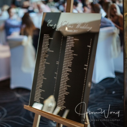 GOLD Mirror Acrylic Laser Engraved Table Seating Chart