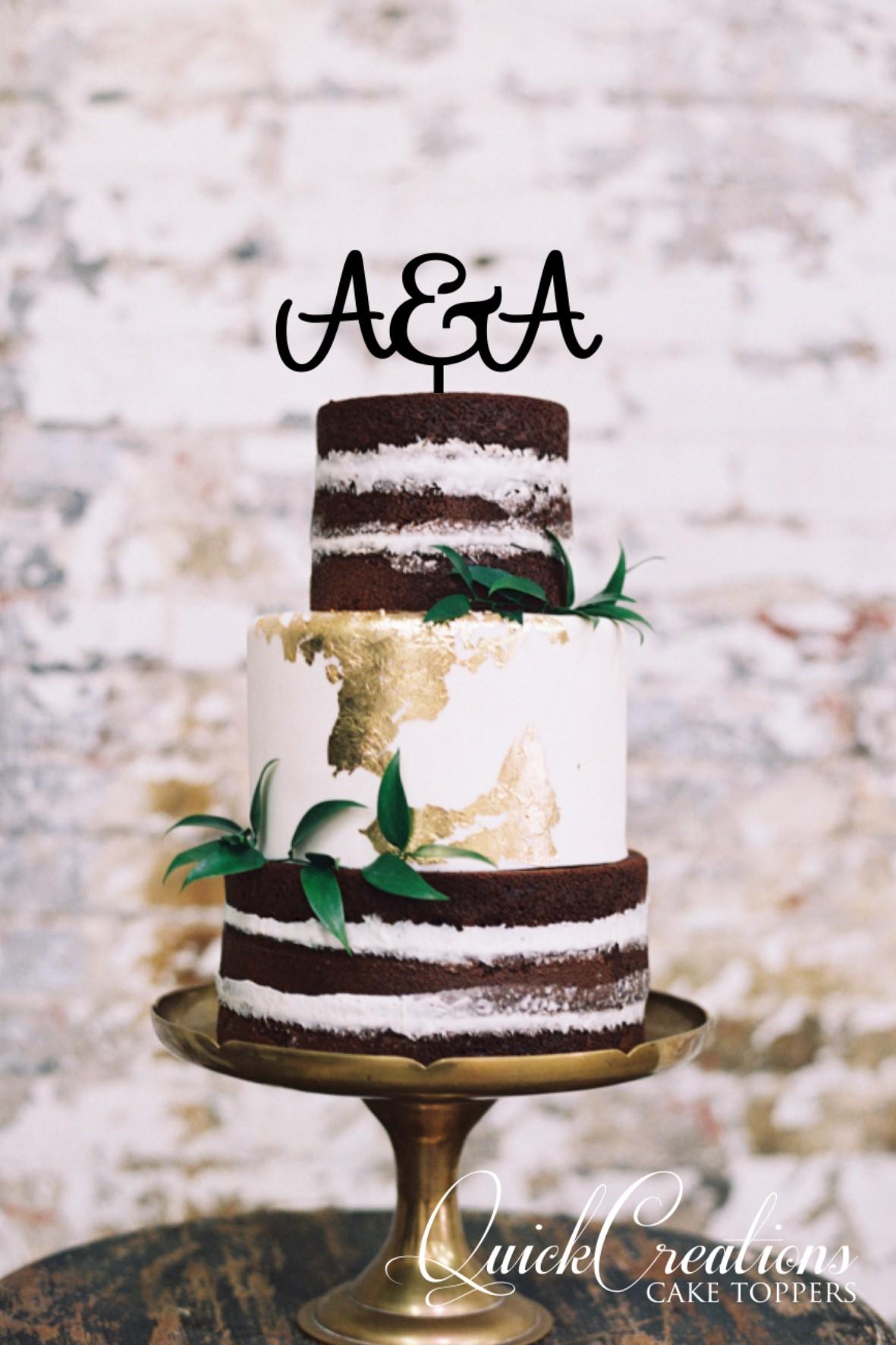 Quick Creations Cake Topper - A&A Initials