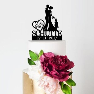 Quick Creations Cake Topper - Bride, Groom, Child Surname & Date