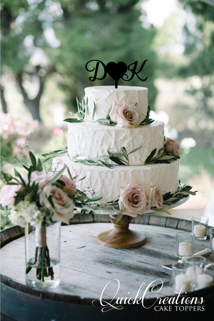 Quick Creations Cake Topper - D Heart K Initials